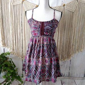 Billabong Pink Blue Geometric Strappy Mini Dress S